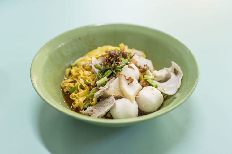 A humble bowl of teochew noodles for breakfast Ready-to-eat Food Food And Drink Freshness Wellbeing Indoors  Still Life Bowl Close-up Serving Size No People Table Meal Meat High Angle View Plate Garnish Temptation Crockery Noodles Hawker Food Singapore Food Fishballs