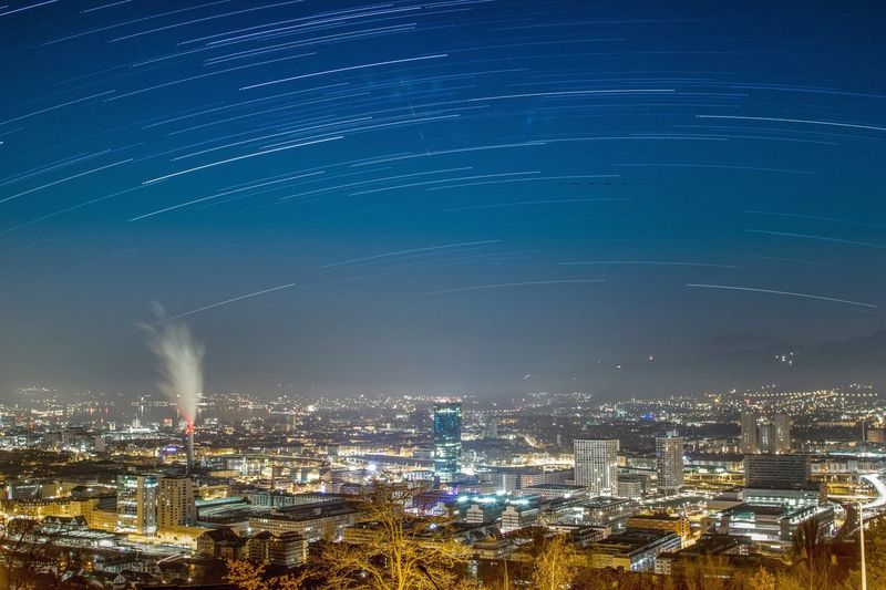 City by night City Zürich Switzerland Timelapse Night Cityscape Illuminated Building Exterior No People Architecture Star - Space Light Trail Star Trail Long Exposure Motion Nightlife Astronomy (null)Urban