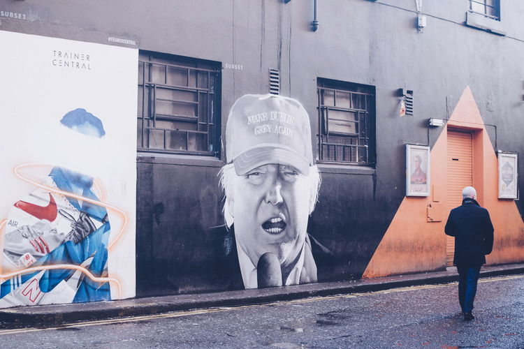 Make Dublin Grey Again Graffiti Street Life Architecture Art And Craft Building Exterior Built Structure Day Human Representation Outdoors Street Art Stories From The City