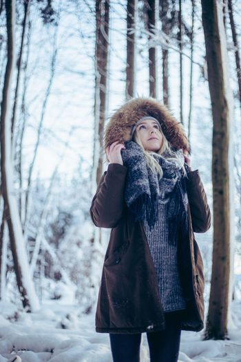 Winter Cold Temperature Snow Warm Clothing Only Women Beauty Beautiful Woman Adults Only One Woman Only Fur Redhead Young Adult One Person Adult Winter Coat Forest Tree Nature Outdoors Beautiful People