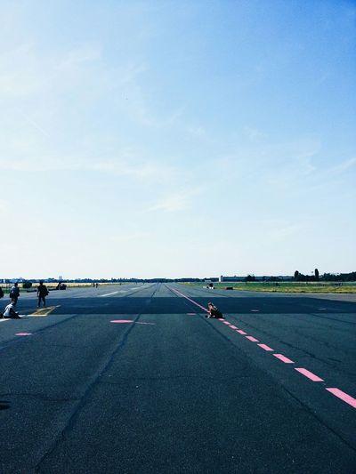 People on runway at berlin tempelhof airport