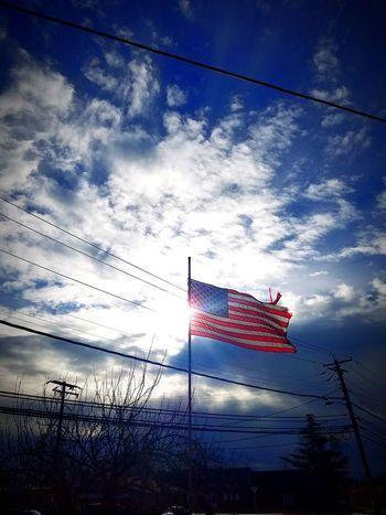 America Flag Sky No People Outdoors