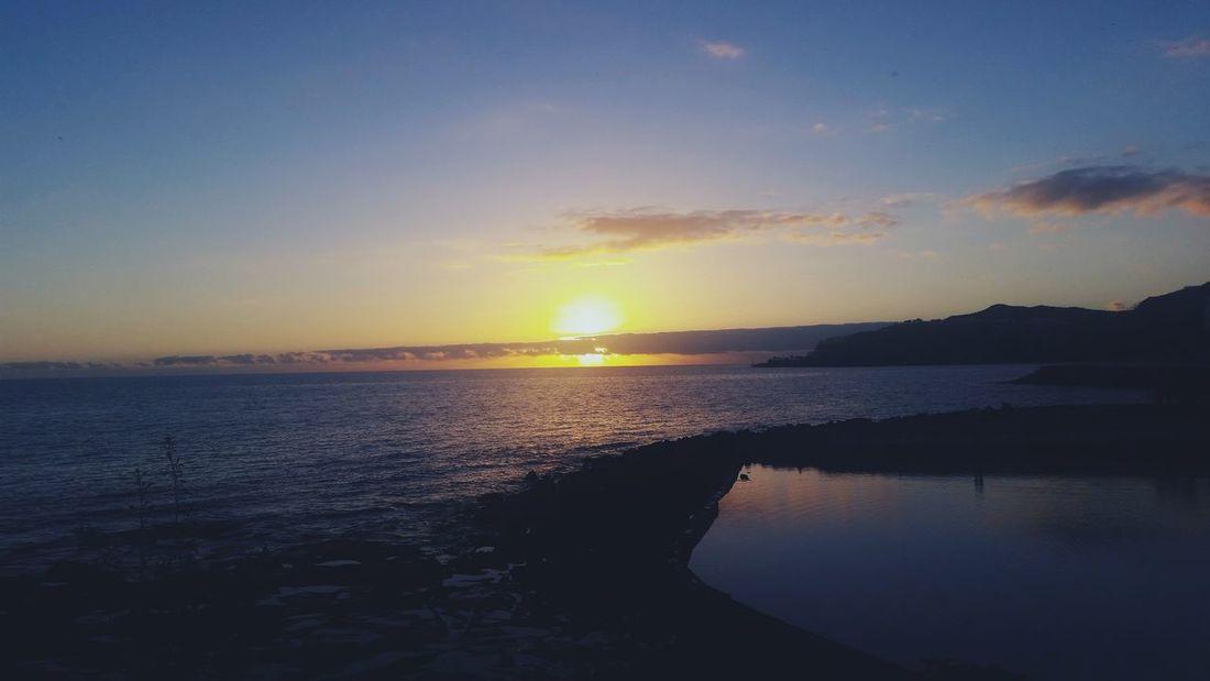 Sunset Seascape Calm Water Gran Canaria Beautiful View