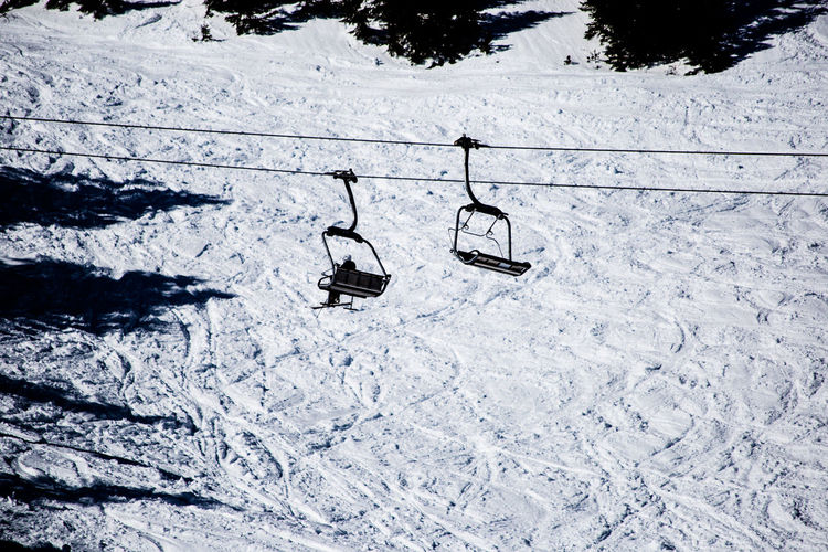 Lift to the top Snow Winter Cold Temperature Field Nature High Angle View Land White Color Day Covering No People Beauty In Nature Absence Scenics - Nature Outdoors Environment Ski Lift Snowcapped Mountain Cable Car Lift Top
