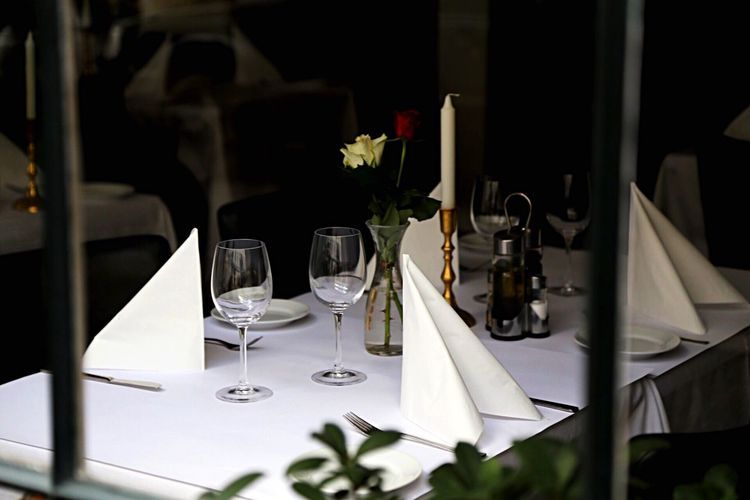 High angle view of table at restaurant