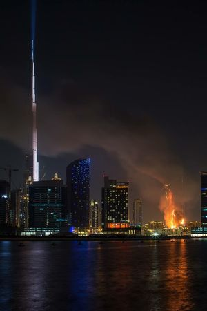 NYE 2016 Dubai Fire Fireworks Happy New Year Nightphotography Night Photography Light EyeEm Best Shots NYE2015 New Years Resolutions 2016 New Years Eve photo credits to Bernard this photo is taken when a fire started in a hotel in Dubai on New Year's Eve nex to burj khalifa in downtown.. Very unlucky way to end 2015. Hopefully 2016 will bring more luck and fortun to every one. Flatiron Building Cityscapes Showcase March