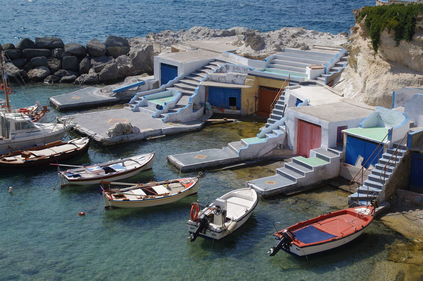 Griechenland Griechische Inseln Milos Island Beach Day Fischerboote Fishing Boat Greece High Angle View Moored Nature Nautical Vessel No People Outdoors Sea Water