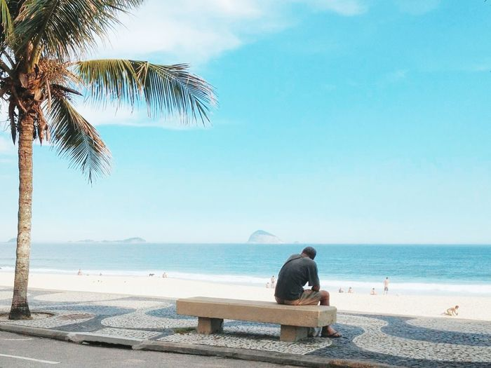 REAR VIEW OF MAN SITTING ON A BENCH IN BRAZIL