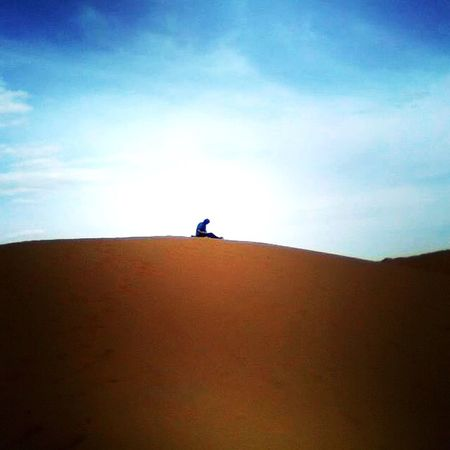 Sahara, blue sky Sky One Person Silhouette Day Real People Landscape Low Angle View