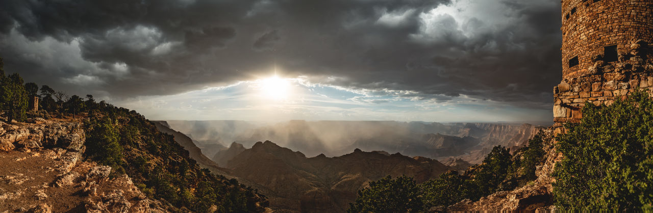 The Grand Canyon National Park while a massive thunderstorm is moving in from behind. The light was just amazing and the atmosphere was like there is no tomorrow. 😜 Outdoors Landscape Sunlight Sun No People Sunbeam Panoramic Mountain Scenics - Nature Grand Canyon Grand Canyon National Park Desert View Watchtower USA Arizona Storm Thunderstorm Storm Cloud Tower Rain Mountain Range High Resolution Wide Angle Travel Destinations Adventure Valley My Best Photo