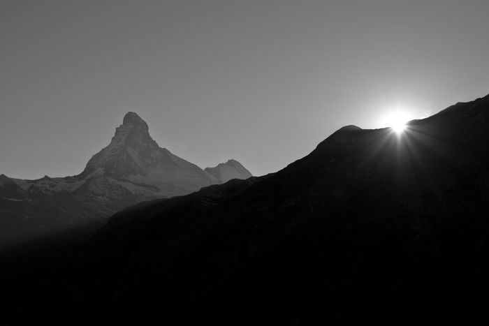 Silhouette Mountain Beauty In Nature Outdoors Freedom Alpinetouring Enduromtb Nikonphotography Zermatt , Wallis , Valais , Alps , Canton , Switzerland , Swiss Alps , Landmarks ,sight , Destination , Travel , Outdoor , Outdoor Shot, CH , Holiday , Europe ,Schweiz, Schweizer, Alpen, SW, Schwarzweiss, Black And White, Photography, Fotografie, Schwarz, Switzerland Swissmade Landscape Travel Destinations Atumn Herbst🍁 Mountains