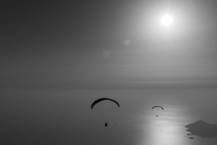 Low angle view of silhouette paragliding over sea against sky