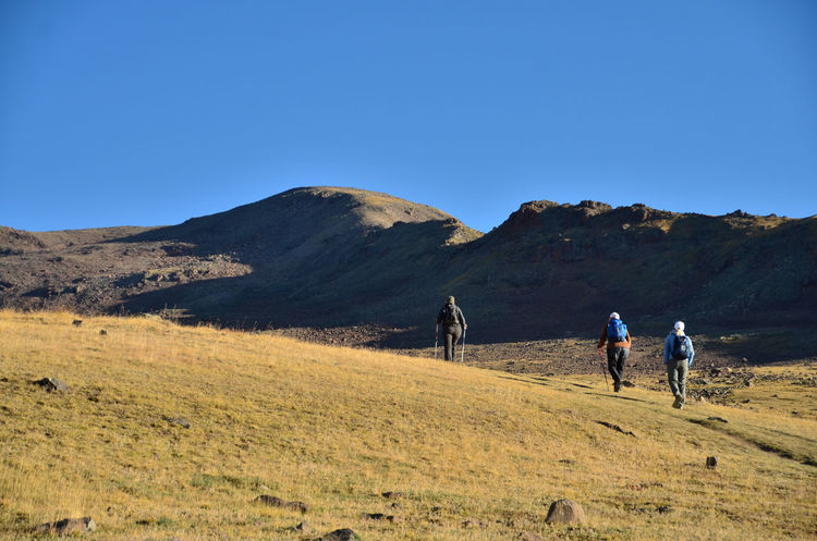 Mount Aragat Aragat Armenia September Beauty In Nature Blue Clear Sky Copy Space Environment Group Of People Land Landscape Leisure Activity Lifestyles Men Mountain Nature Non-urban Scene Outdoors Real People Scenics - Nature Togetherness Travel Destination W-armenien Walking