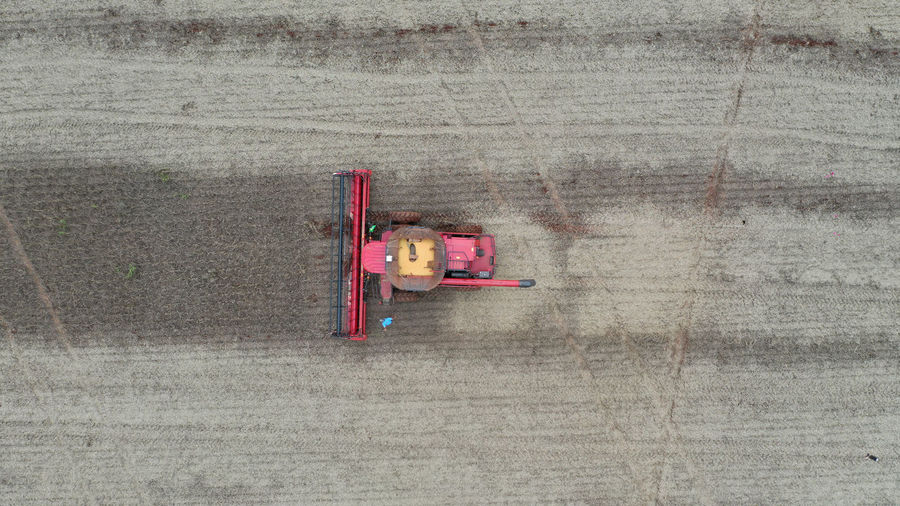 High angle view of toy car on bridge