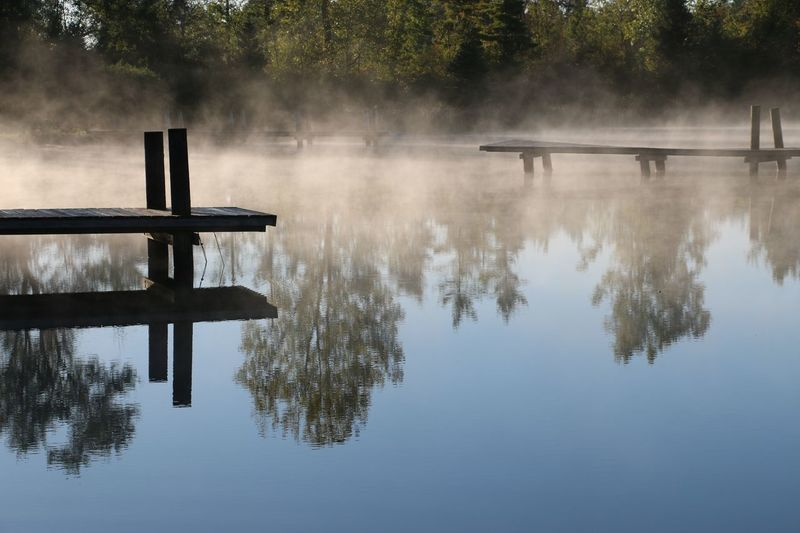 Pier Reflection Reflection On Water Beauty In Nature Dock Fog Lake Nature Outdoors Scenics Tranquil Scene Tranquility Water