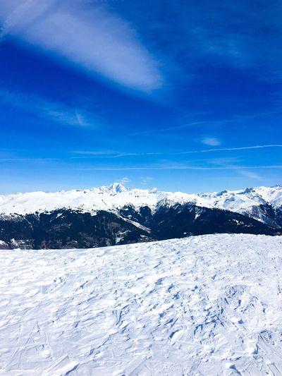 Mountain Landscape French Alps Montblanc Mont Blanc Alps France Meribel Savoie Les Trois Vallees Ski Skiing Mountains Europe Winter Snow Sky Blue Nature Scenics - Nature Cloud - Sky Landscape Frozen Outdoors No People