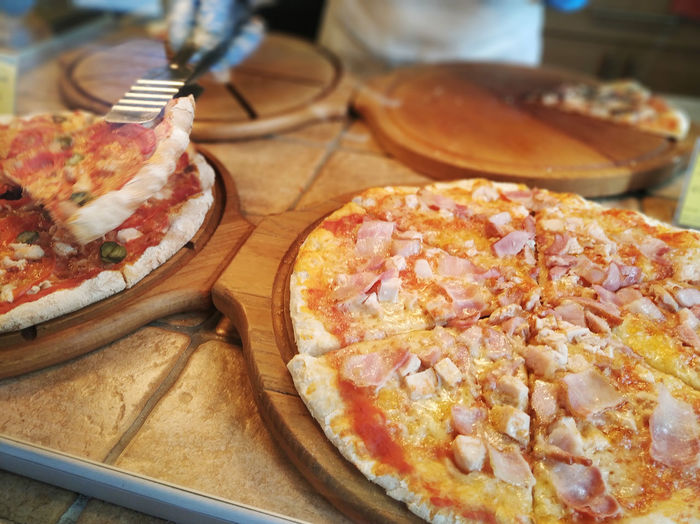 High angle view of pizza on table