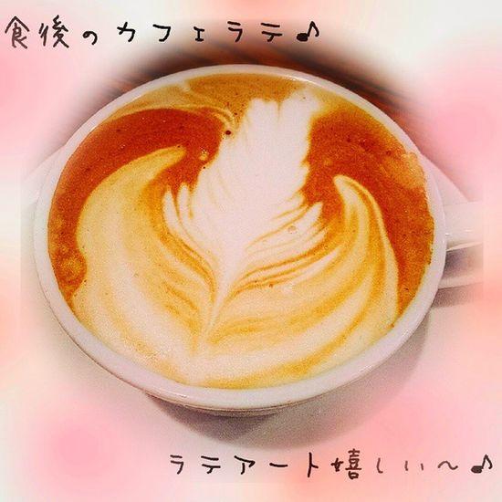 食後のカフェラテ ラテアートで出してくれるので嬉しい~♪ ごちそうさまでした♪ カフェラテ ラテアート Late Latteart 嬉しい 39 美味しい 福岡 警固 バルロッサロッサ
