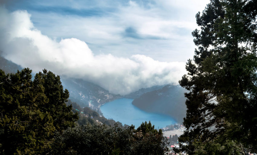 Mango Lake View Point, Nainital Scenics - Nature Beauty In Nature Cloud - Sky Tranquil Scene Mountain Forest Environment Landscape Plant Tree Nainital Nainital Lake Uttarakhand India Lake View Point Himalayas Tourist Destination In India Holy Lake Natural Freshwater Body Perspective Viewpoint