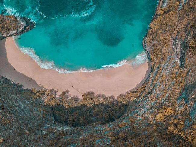 Kelingking Beach Beach Drone  Aerial View Dji Mavic Drohne Kelingking Beach INDONESIA Ocean Waves Blue Water