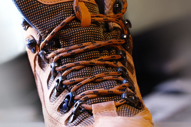 Close-up of shoe with shoelace