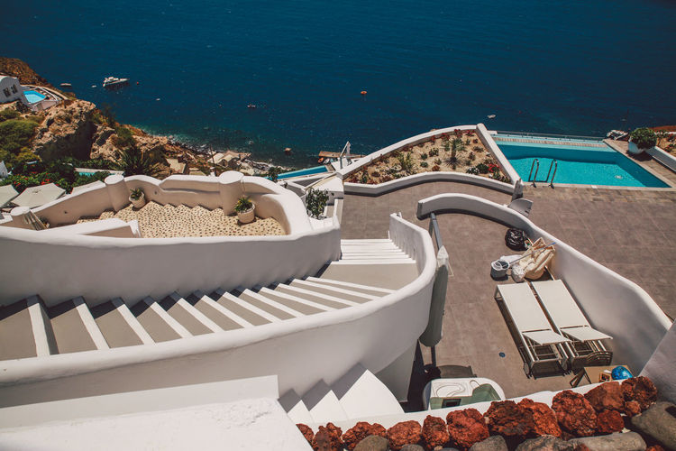 High Angle View Of Steps By Sea At Santorini