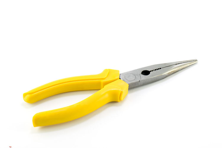 Pliers isolated on White background Carpentry Electrician  Equipment Handle Manual Metallic Plastic Pliers Steel Tool Worker Wrench