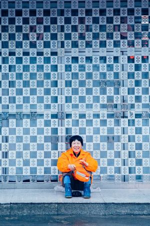 China Happy Orange Worker Working People Woman City VSCO Travel Photography Documentary Street Eye4photography  Streetphotography One Person Journey Vscocam Colours Light Check This Out Redstartravel
