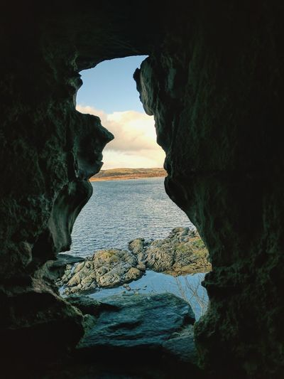 Rock - Object Rock Formation Landscape Cave Beauty In Nature Nature Natural Arch Scenics Cliff Tranquility Physical Geography No People Awe Silhouette Horizon Over Water Cloud - Sky Indoors  Travel Destinations Sky Day EyeEm Selects Ruins Scotland EyeEm Best Shots