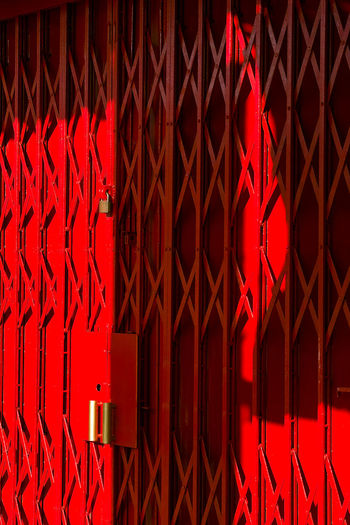 Backgrounds Close-up Day Full Frame Light And Shadow No People Red Red Iron Gate