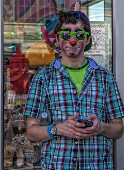 Clown with Cell Phone Candid Photography Clown Clown Coney Island Clown With Cell Phone Coney Island NY Portrait Portrait Of A Woman