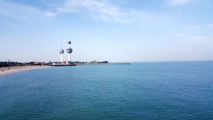 Kuwait Towers Lenotre EyeEm Selects Sea Water Day Horizon Over Water Blue Outdoors Tranquility No People Lighthouse Sky Nature Beach Beauty In Nature