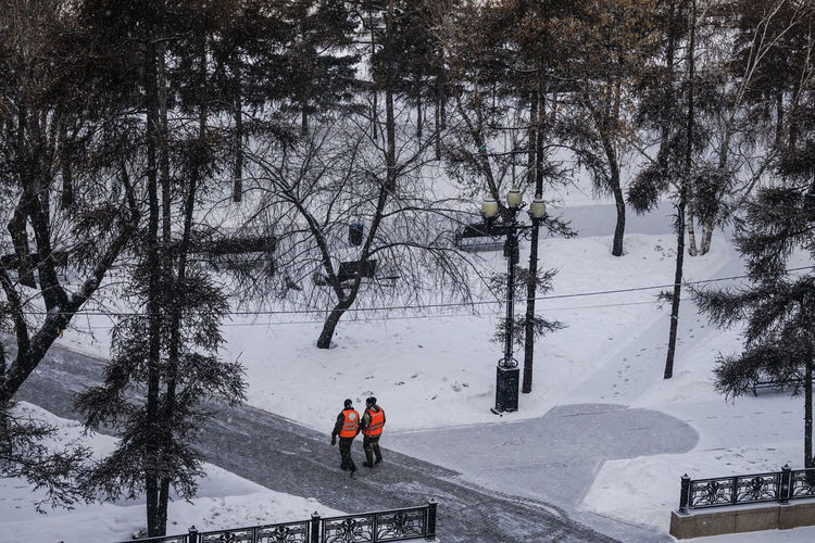 People skiing on snow covered land