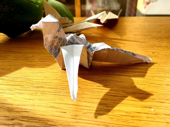 Origami art, left behind in a restaurant in Helsinki. Blade Runner Origami Art Origami EyeEm Selects Shadow Table Creativity Indoors  Paper Representation Art And Craft Wood - Material No People Sunlight Animal Representation Still Life High Angle View Close-up Wood