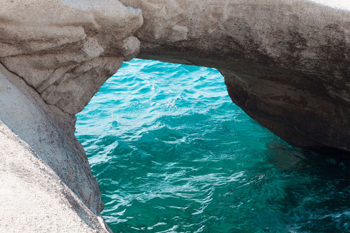 Cyclades Greece Sarakinikobeach Sarakiniko Milos Meditation Mediterranean  Peace Beauty In Nature Cave Day Natural Arch Nature No People Outdoors Peaceful Physical Geography Rock - Object Rock Formation Scenics Sea Sky Textured  Tranquil Scene Tranquility Travel Destinations Water Water Cave