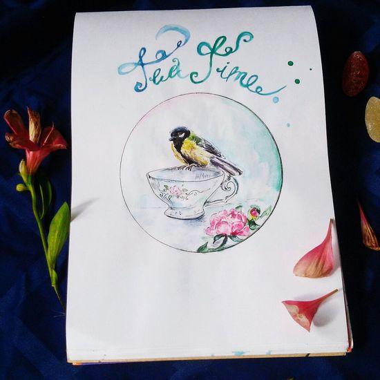 Littele bird🐦 Watercolor Painting Painting Drow Watercolorpainting Birds🐦⛅ Cupoftea картинка акварель птичка чашка чая рисунок акварелью работа_хобби иллюстрация арт