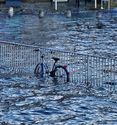 "After storm ""Xaver"" Flood Water_collection Bicycle Taking Photos"