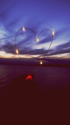 Night Sky Scenics Illuminated Heartshaped Heart Twinkling Lights Beach Beachphotography Sunset Water Tranquility Outdoors Sunset Colors Rhode Island New England  Twinkle Light