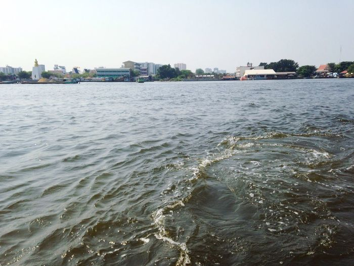 By the river Chao Phaya River On The Boat Express Boat Bangkok To Pier Quick No Traffic Cool Wind Happy Trip