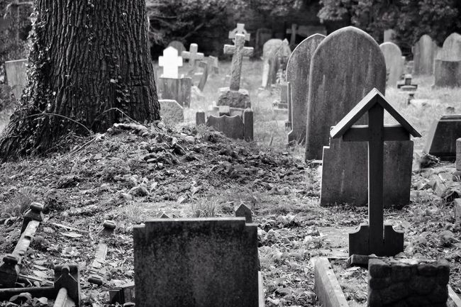 Cemetery Tombstone Grave Memorial Cross Graveyard Gravestone Grief Religion Respect No People Outdoors Spirituality Day Close-up Graveyard Beauty Canonphotography Canon Photography Black & White South West London Burial Ground Creative Photography Churchyard