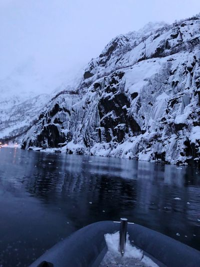 Norway Trollfjord, Lofoten Water Beauty In Nature Nature Cold Temperature Winter Snow Tranquility Frozen