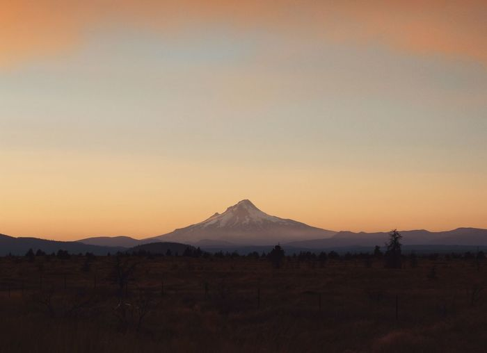 Mount Hood. Mountain Landscape Sunset Travel Destinations No People Scenics Desert Tranquility Beauty In Nature Nature Outdoors Snow Pacific Northwest  Mount Hood