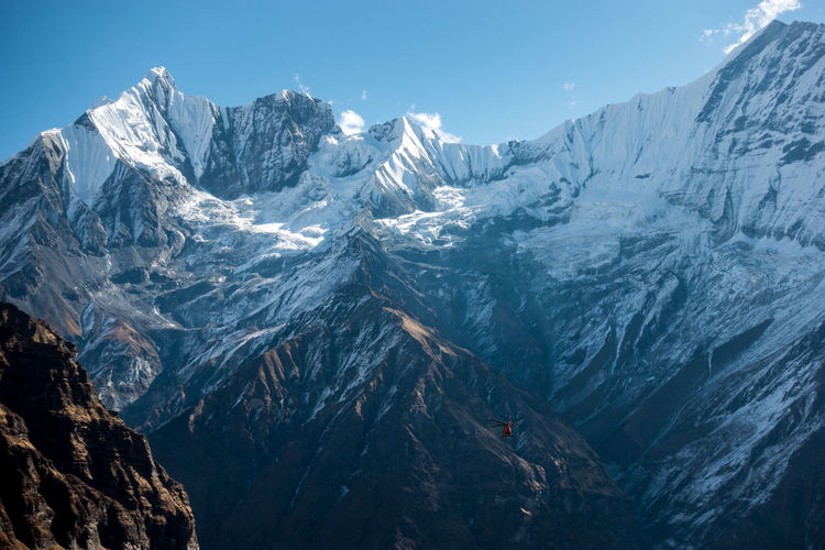 Annapurna Base Camp Trek Himalayan Range Himalayas Awe Beauty In Nature Cold Temperature Day Extreme Terrain Landscape Mountain Mountain Peak Mountain Range Nature No People Outdoors Physical Geography Rock - Object Scenics Sky Snow Snowcapped Mountain Wilderness Area Winter