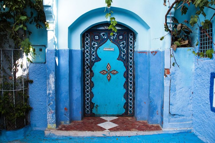 Blue Entrance Door Architecture No People Awesome Full Length Morocco Chaouen Chefchaouen Medina Chefchaouen Medina Wanderlust Backpacking Backpacker