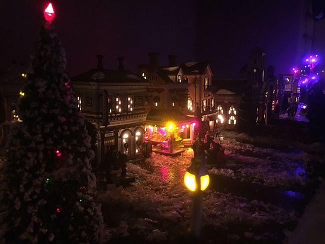 Christmas Illuminated Christmas Tree Night Christmas Decoration Christmas Lights Tradition Celebration Christmas Town
