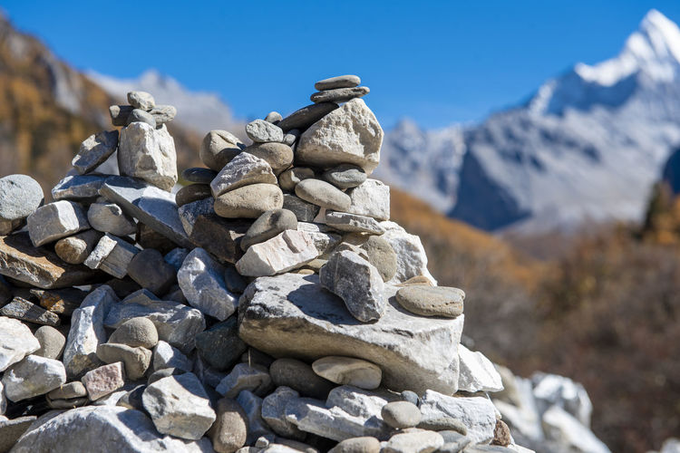 Balance Nature Zen Solid Rock Mountain Rock - Object Stack Day Sky No People Beauty In Nature Focus On Foreground Sunlight Tranquil Scene Scenics - Nature Stone - Object Tranquility Winter Non-urban Scene Outdoors