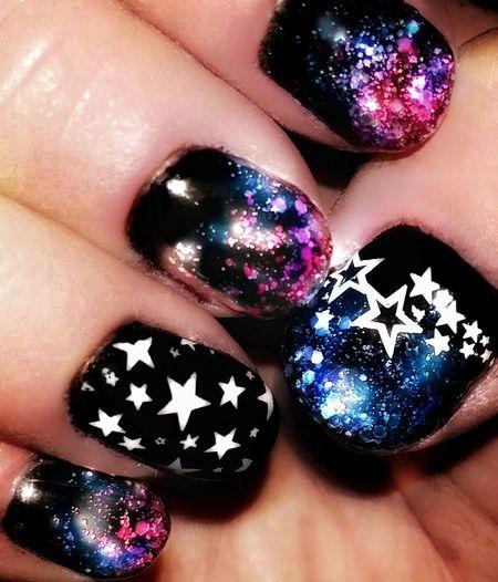 Coloured Nebula Galaxy Nails Nails Nail Polish EyeEm Best Shots Colourful Color Splash Pink And Purple Artistic Space Art Stars Glitter Nail Polish Black Background Shiny Multi Colored Close-up Nail Art