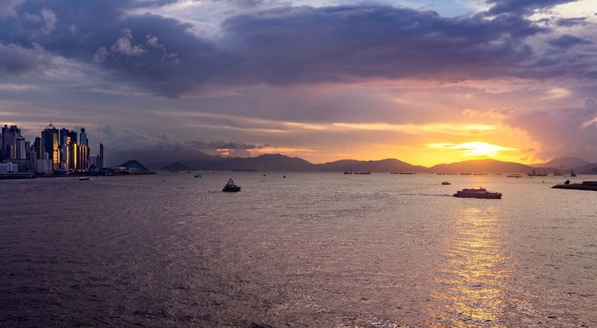 Hong Kong Sunset Sky Water Sunset Sea Cloud - Sky Scenics - Nature Beauty In Nature Nature No People