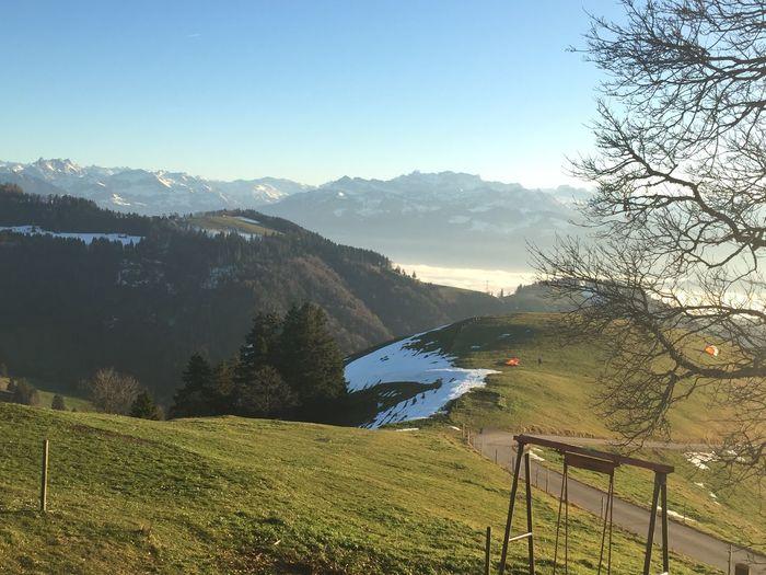 at Alp Scheidegg, Wald, Switzerland, hanggliders prepring For takeoff, nature lover, autumn, colors, pristine nature, high fog, sea of fog, after sunset, view towards Swiss alps, Rigi, Pilatus