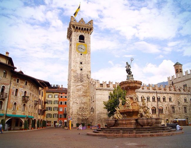 The city of Trento Cathedral with the Fountain of Neptune